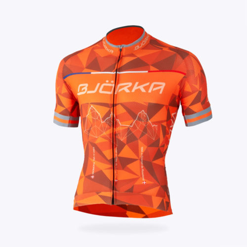 Maillot vélo Bjorka Annecy orange face