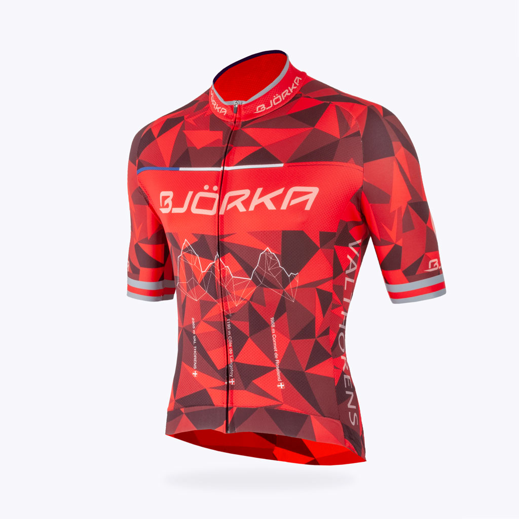 Maillot vélo Bjorka Annecy rouge face