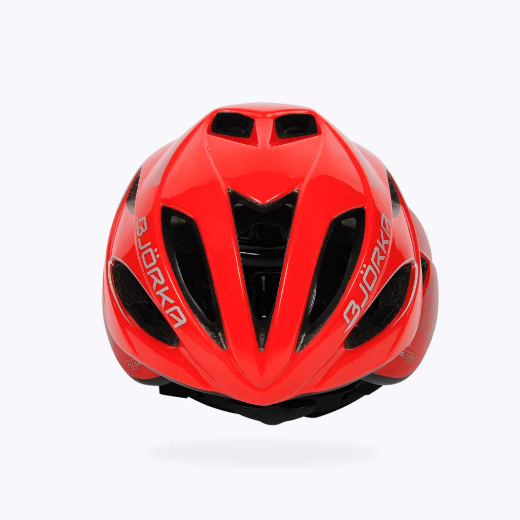 Casque vélo Bjorka HB51 rouge brillant face