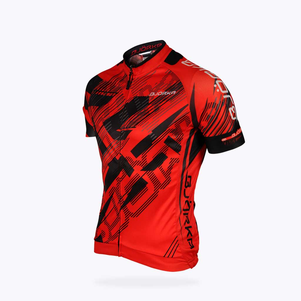 Maillot vélo Bjorka Fusion rouge face 3/4