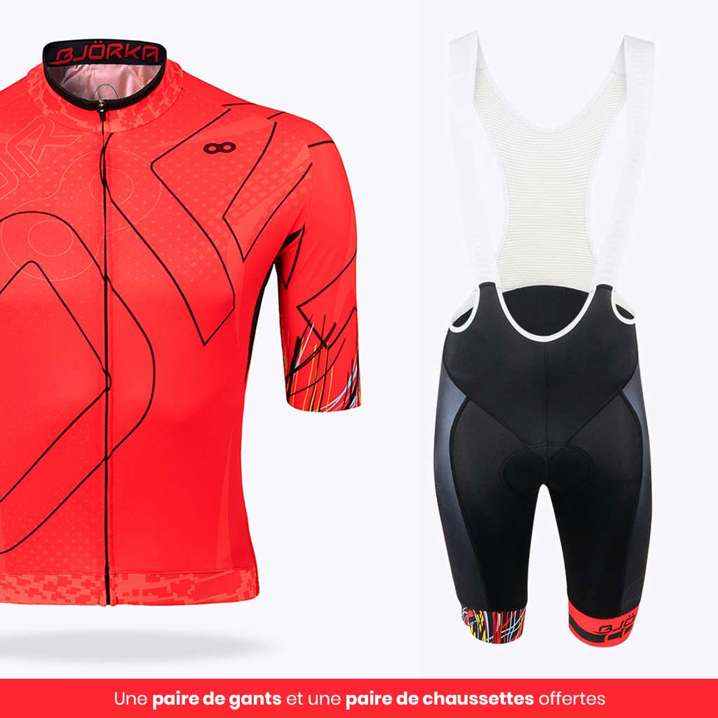 Combo Maillot Cuissard vélo Cobra Rouge