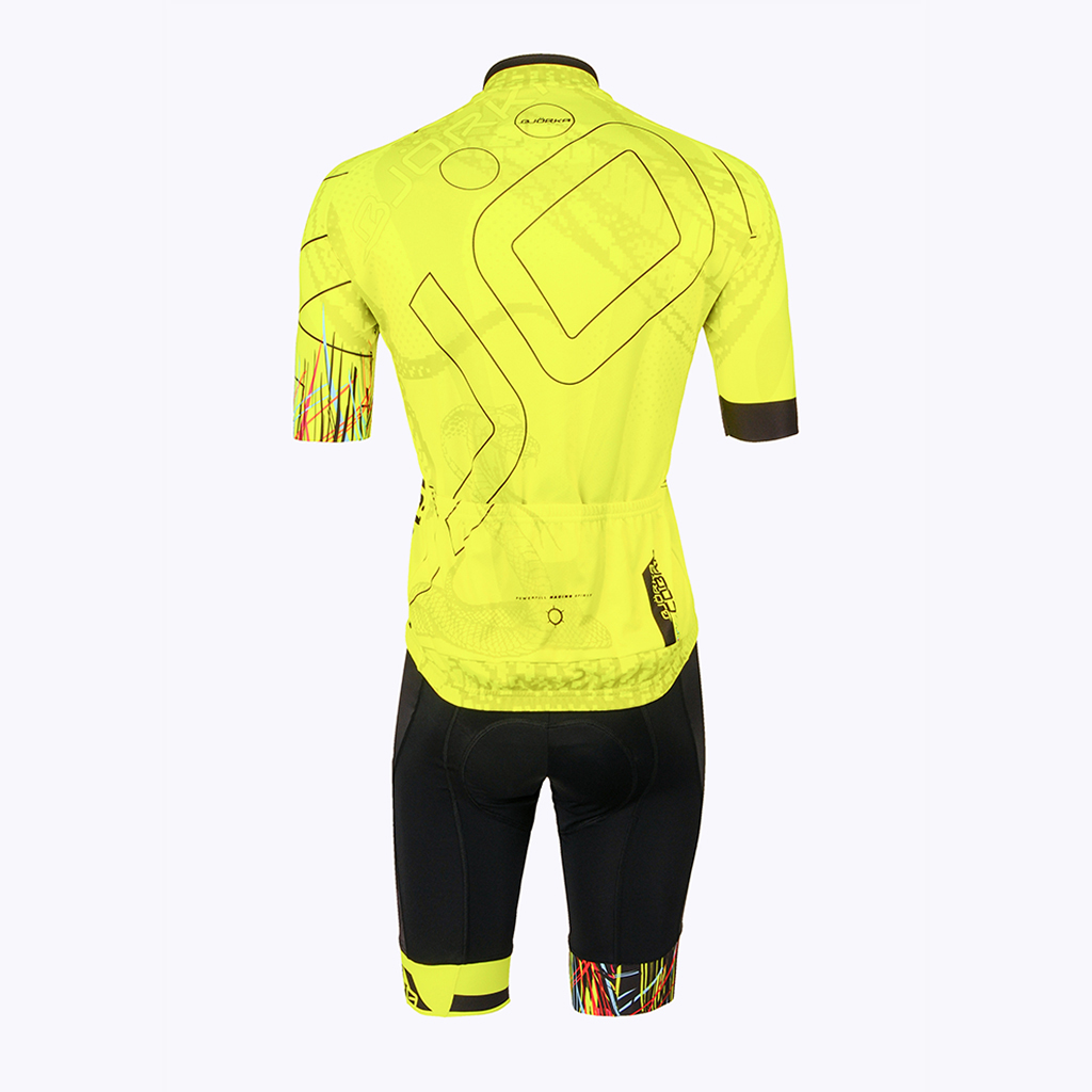Combo Cuissard Maillot velo Cobra jaune dos