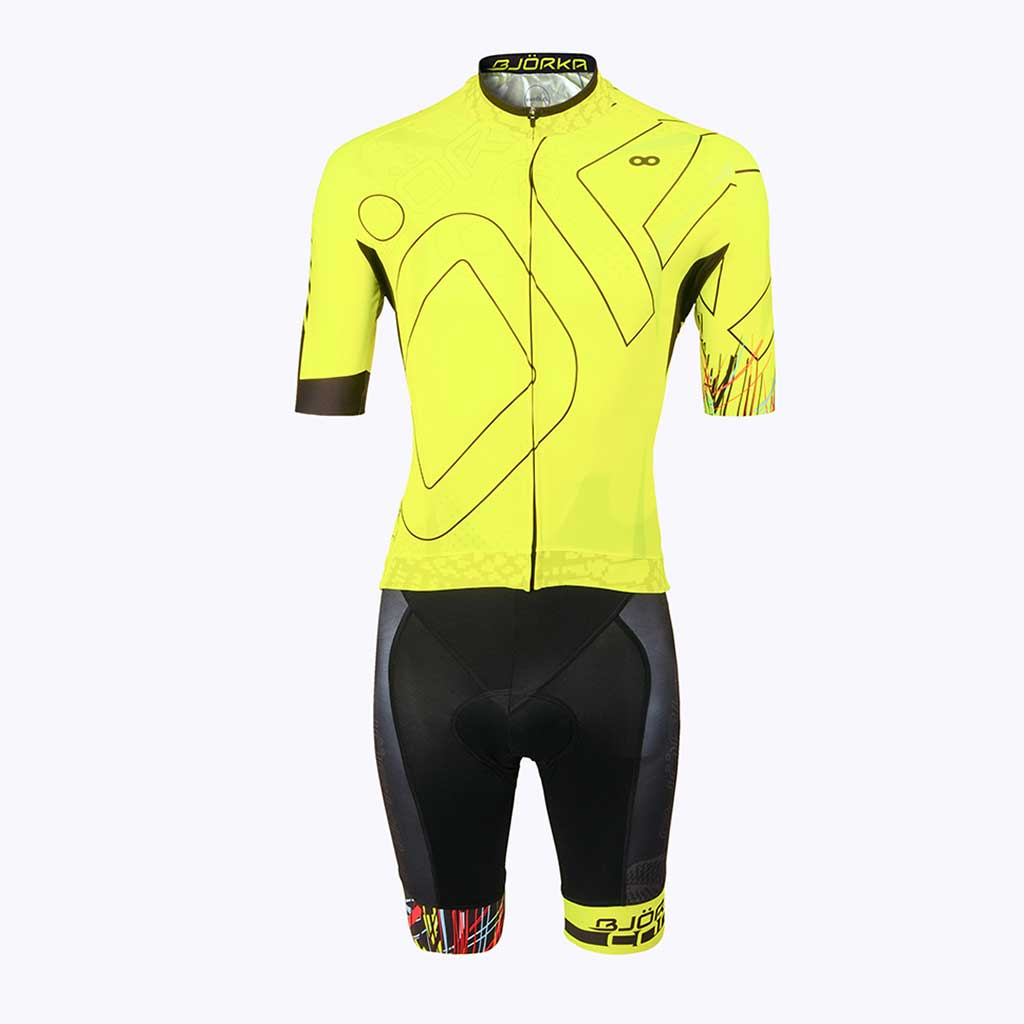Combo Cuissard Maillot velo Cobra jaune face