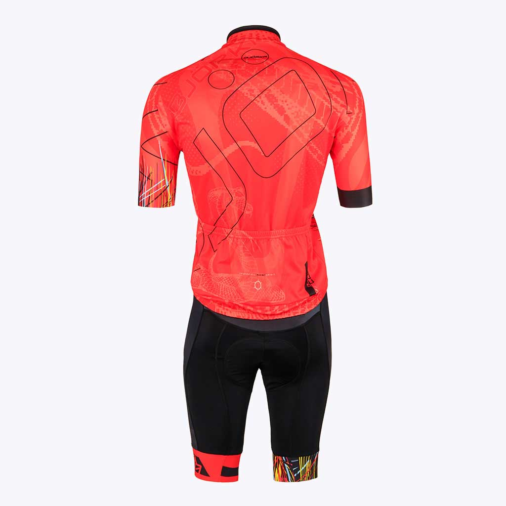 Combo Cuissard Maillot velo Cobra rouge dos