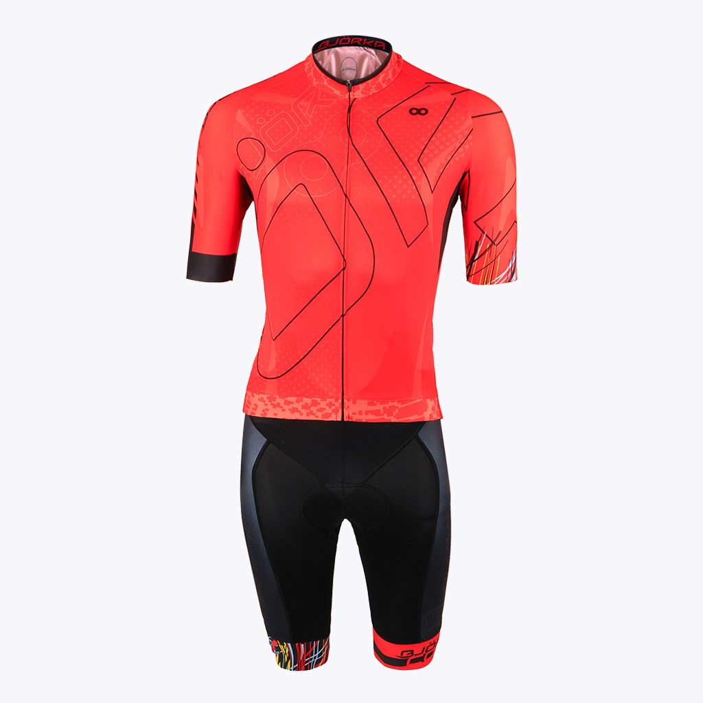 Combo Cuissard Maillot velo Cobra rouge face