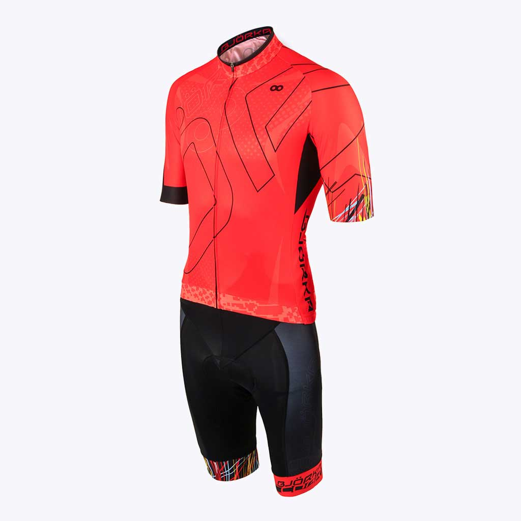 Combo Cuissard Maillot velo Cobra rouge profil