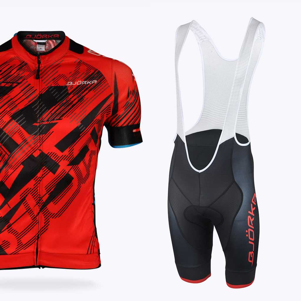 Combo Bjorka maillot vélo Fusion cuissard team rouge