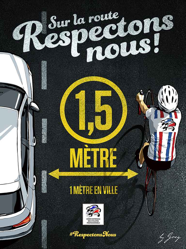 1.5 meters On the road we respect